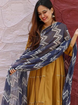 Embroidered Cotton Brown Salwar Kameez