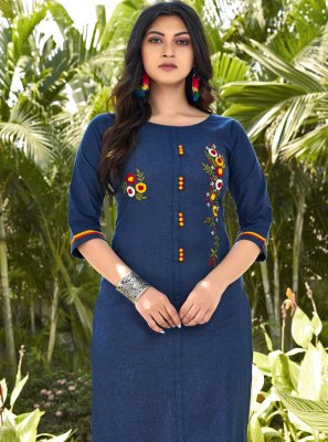 Embroidered Cotton Casual Kurti