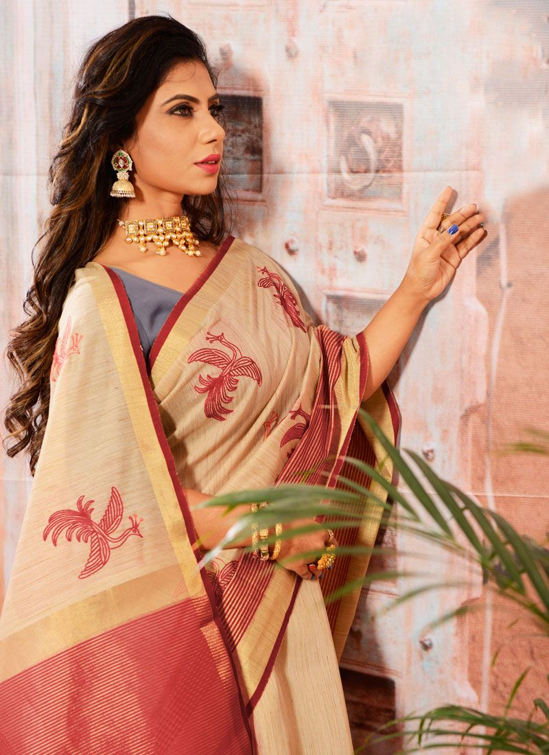 Embroidered Cotton Casual Saree