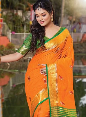 Embroidered Cotton Casual Saree in Orange