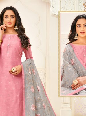Embroidered Cotton Churidar Designer Suit