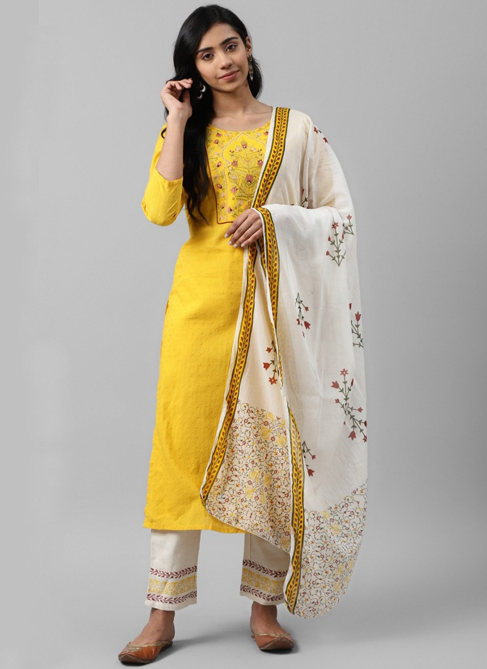 Embroidered Cotton Designer Salwar Suit in Yellow