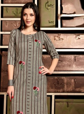 Embroidered Cotton Grey Casual Kurti