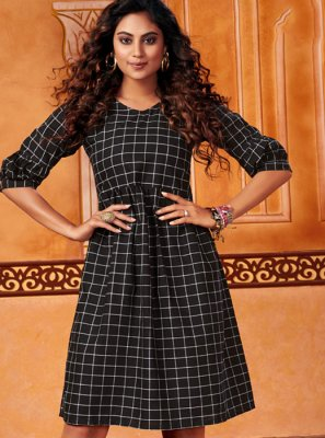 Embroidered Cotton Navy Blue Casual Kurti