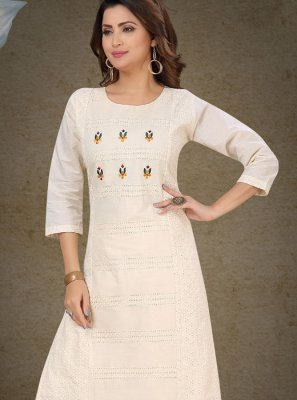 Embroidered Cotton Off White Palazzo Salwar Kameez