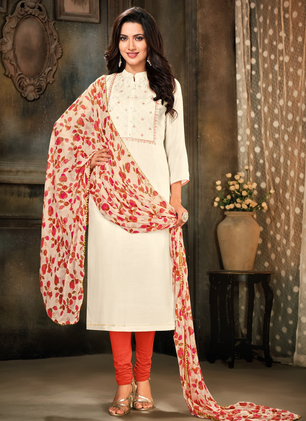 Embroidered Cotton Pant Style Suit in Off White