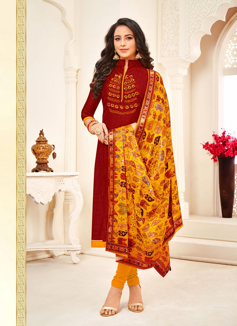 Embroidered Cotton Red Churidar Salwar Suit