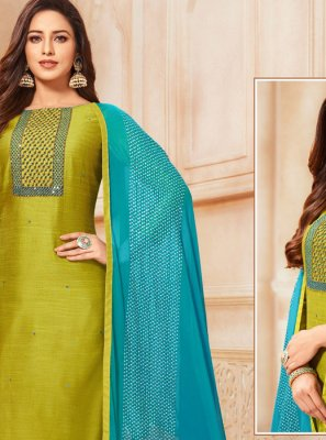 Embroidered Cotton Salwar Suit in Green