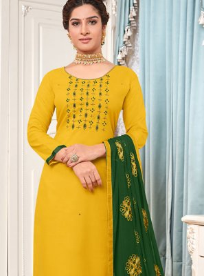 Embroidered Cotton Salwar Suit in Yellow
