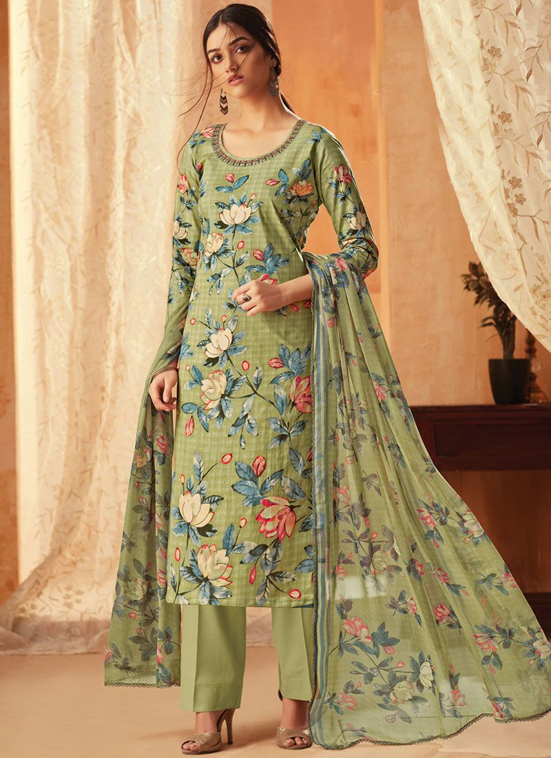 Embroidered Cotton Sea Green Pant Style Suit