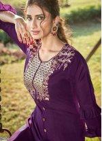 Embroidered Cotton Silk Designer Salwar Kameez in Purple