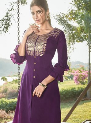 Embroidered Cotton Silk Designer Salwar Kameez in Purple