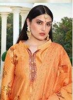 Embroidered Cotton Silk Orange Salwar Suit