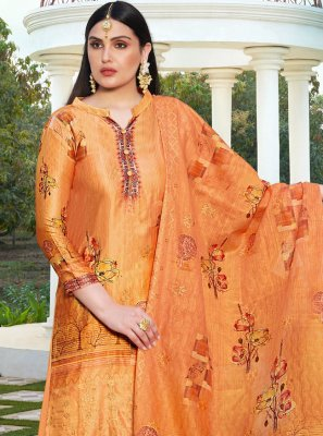 Embroidered Cotton Silk Orange Salwar Suit