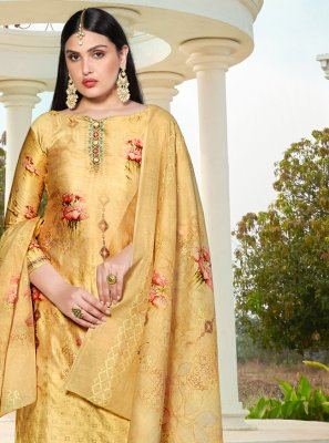 Embroidered Cotton Silk Pakistani Salwar Kameez in Yellow