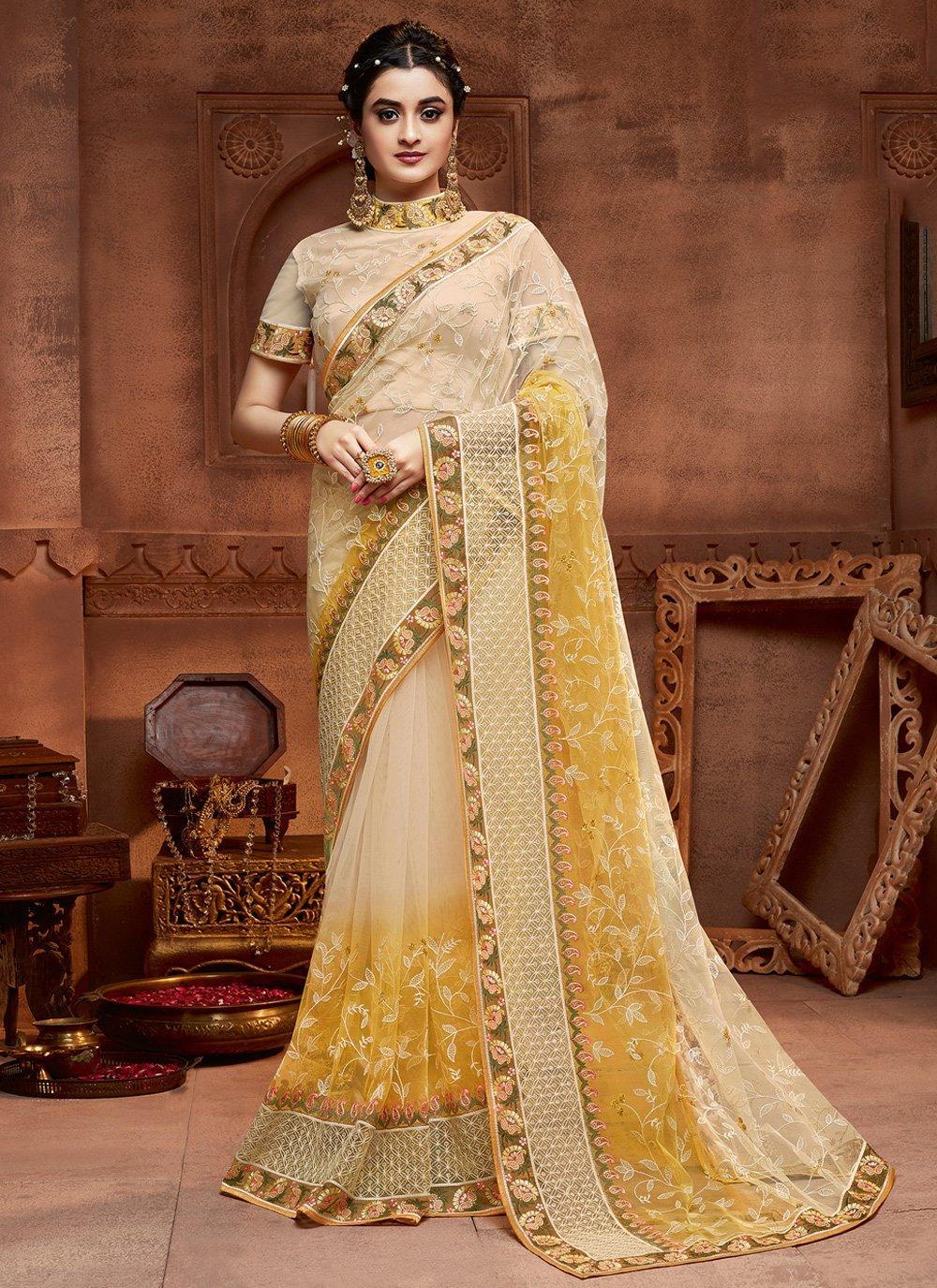 Embroidered Cream and Yellow Net Classic Designer Saree