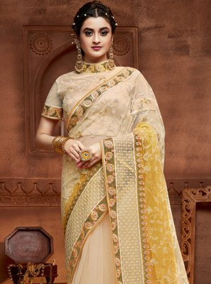 Embroidered Cream and Yellow Net Classic Designer Saree