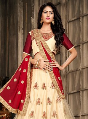 Embroidered Cream Art Silk Designer A Line Lehenga Choli