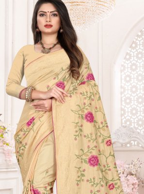 Embroidered Cream Art Silk Traditional Designer Saree
