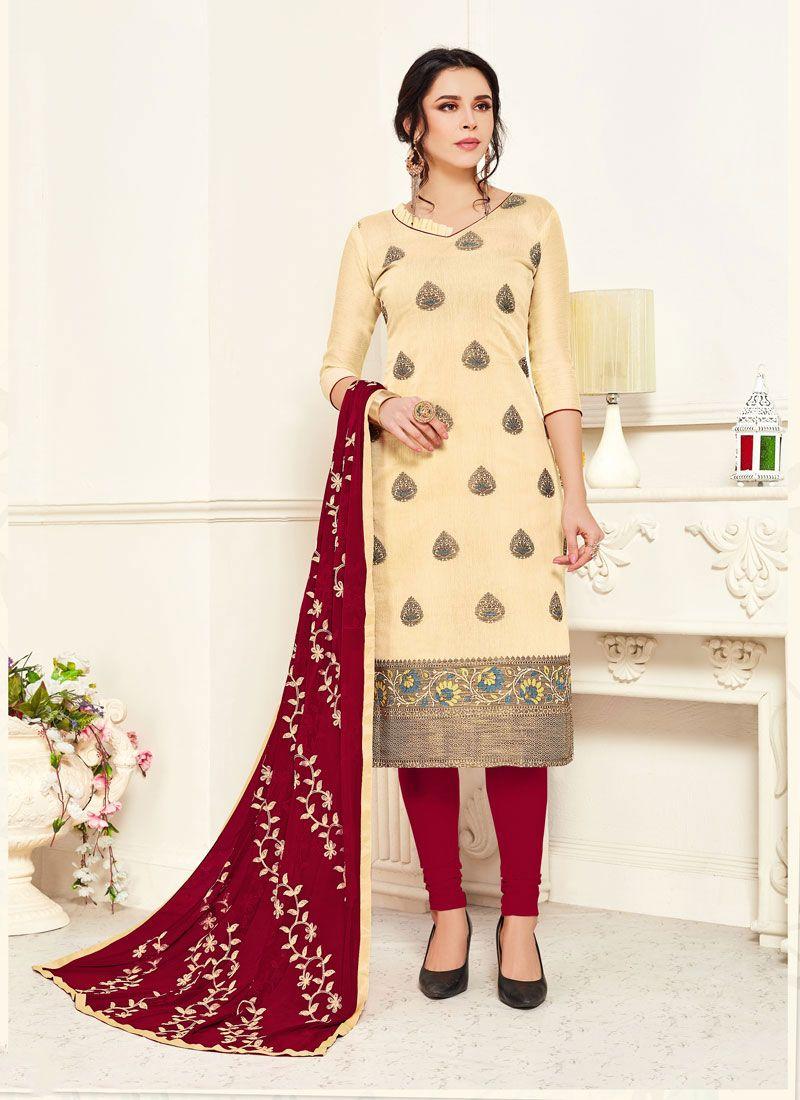 Embroidered Cream Banarasi Silk Churidar Salwar Kameez