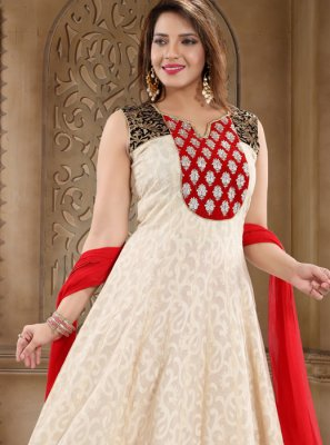 Embroidered Cream Cotton Readymade Salwar Kameez