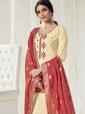 Embroidered Cream Designer Salwar Suit