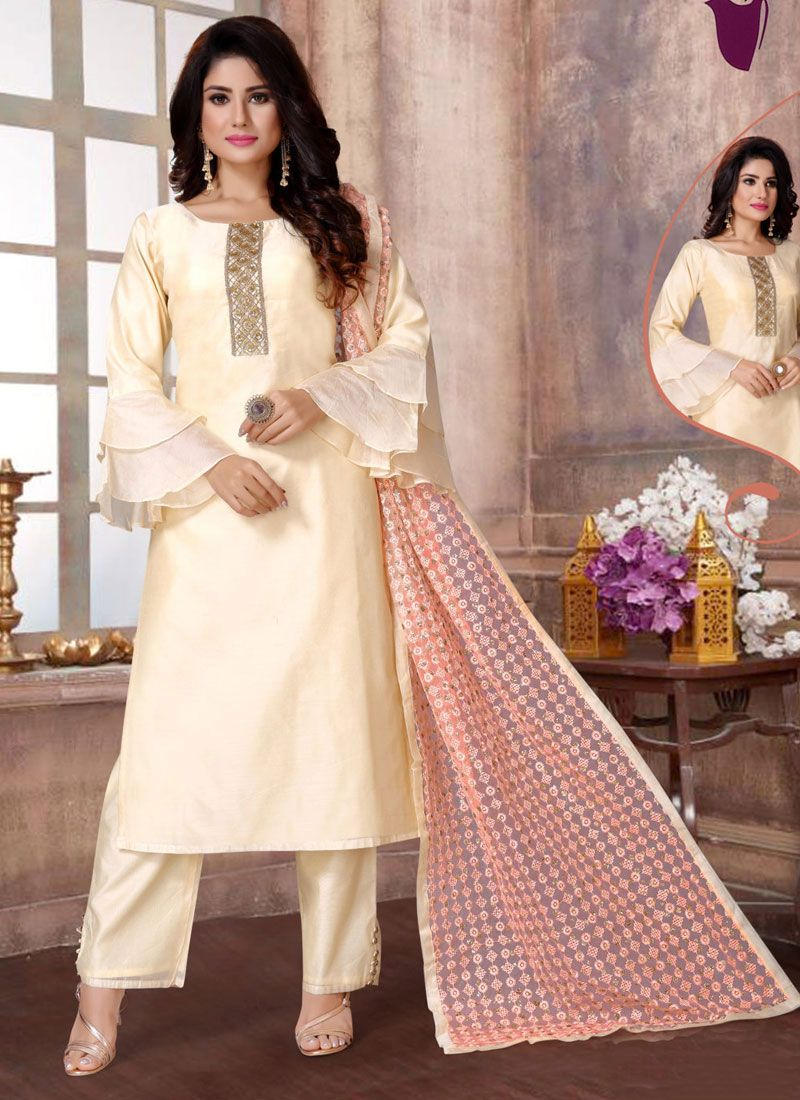 Embroidered Cream Fancy Fabric Readymade Suit