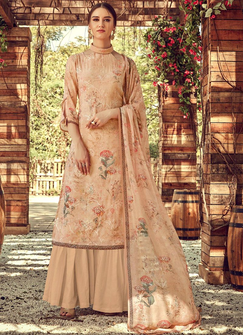 Embroidered Cream Faux Georgette Palazzo Salwar Suit