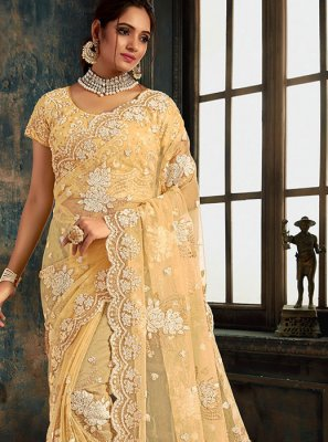 Embroidered Cream Net Classic Saree