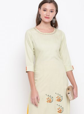 Embroidered Cream Party Wear Kurti
