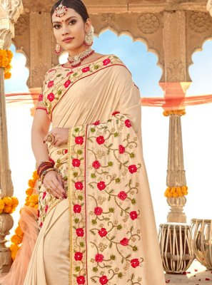 Embroidered Cream Silk Classic Saree