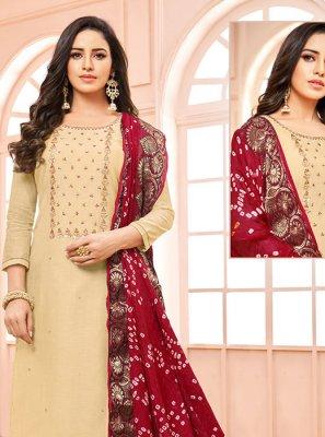 Embroidered Cream Trendy Churidar Suit