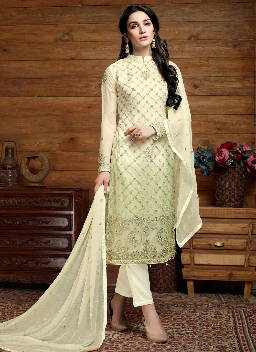 Embroidered Cream Trendy Salwar Suit