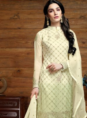 Embroidered Cream Trendy Salwar Suit