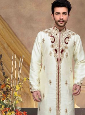 Embroidered Dupion Silk Sherwani in Beige