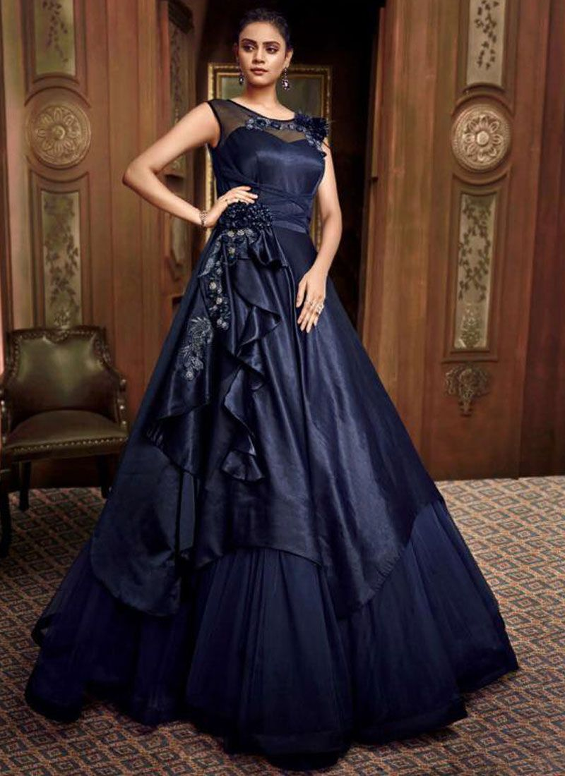 Embroidered Fancy Fabric Blue Designer Gown