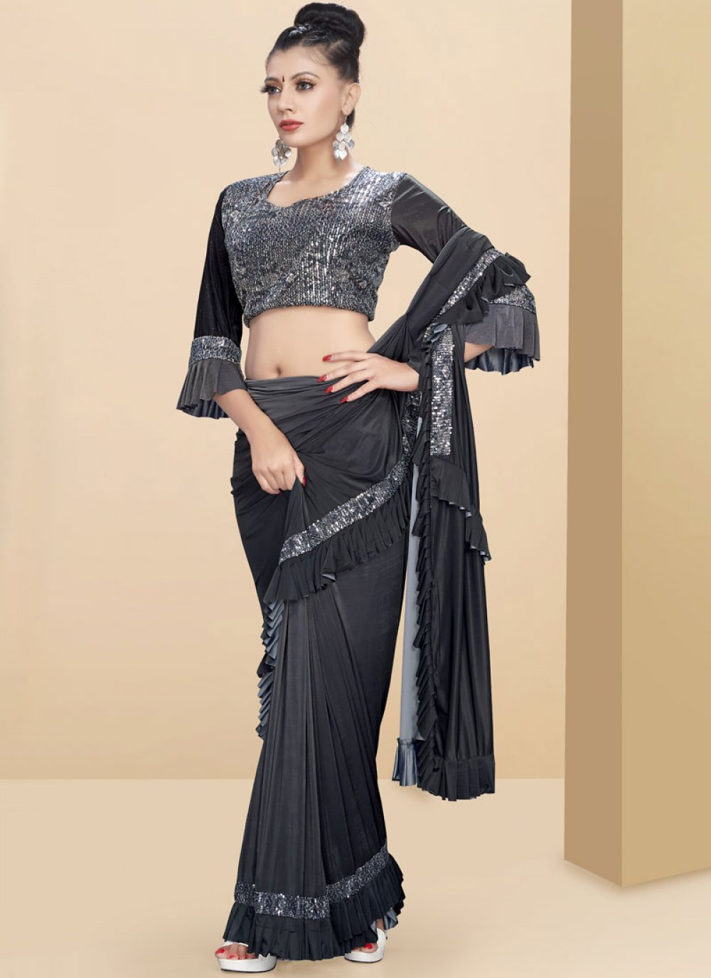 Embroidered Fancy Fabric Classic Saree in Black and Grey