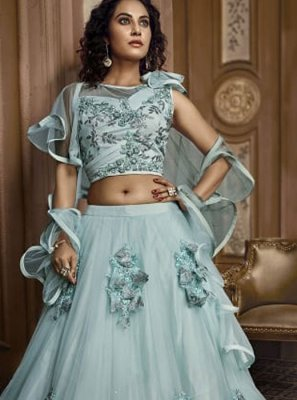 Embroidered Fancy Fabric Designer Lehenga Choli in Green
