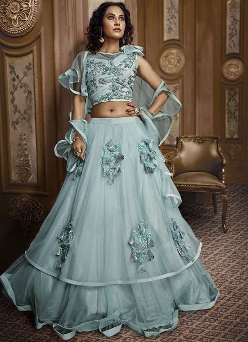 Embroidered Fancy Fabric Designer Lehenga Choli in Green