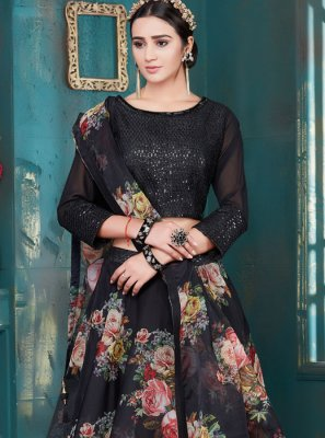 Embroidered Fancy Fabric Lehenga Choli in Black