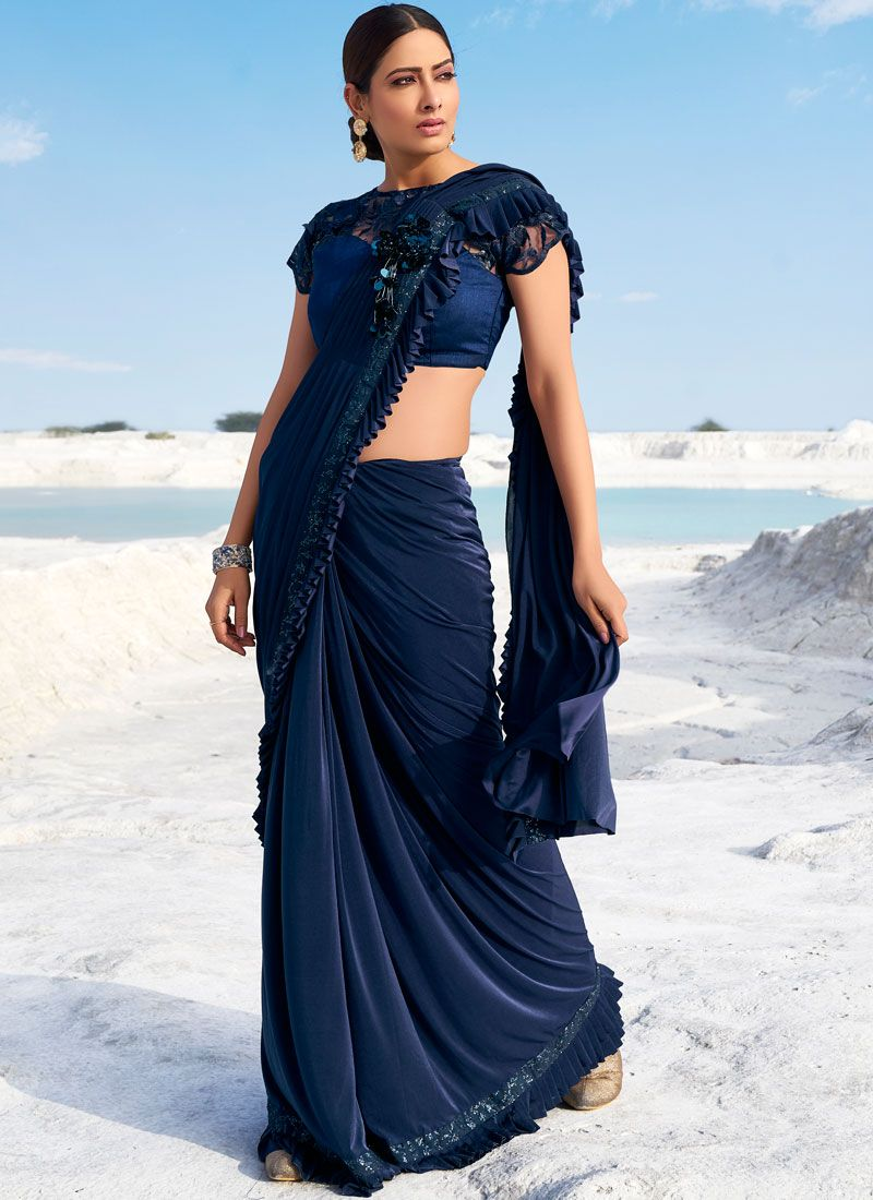 Embroidered Fancy Fabric Navy Blue Classic Saree