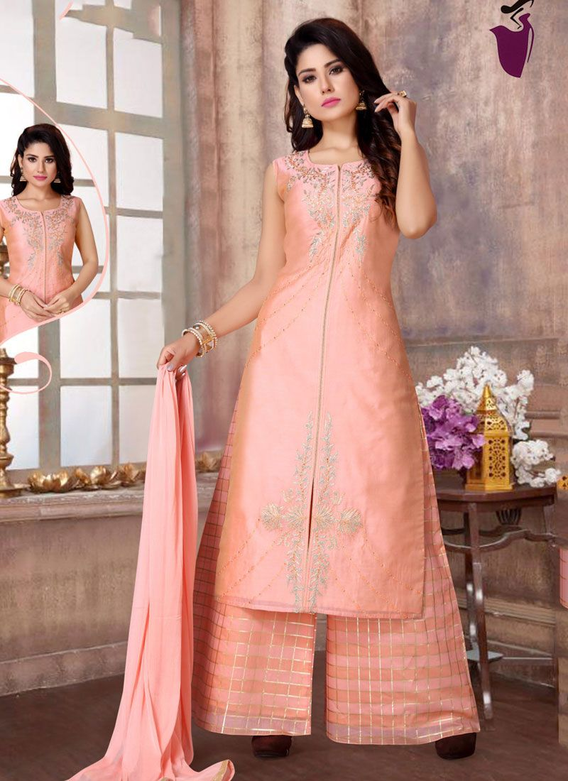 Embroidered Fancy Fabric Readymade Suit in Peach