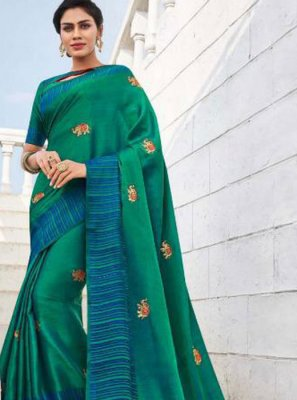 Embroidered Fancy Fabric Traditional Saree in Sea Green