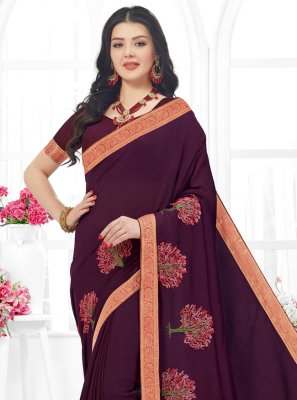Embroidered Fancy Fabric Trendy Saree