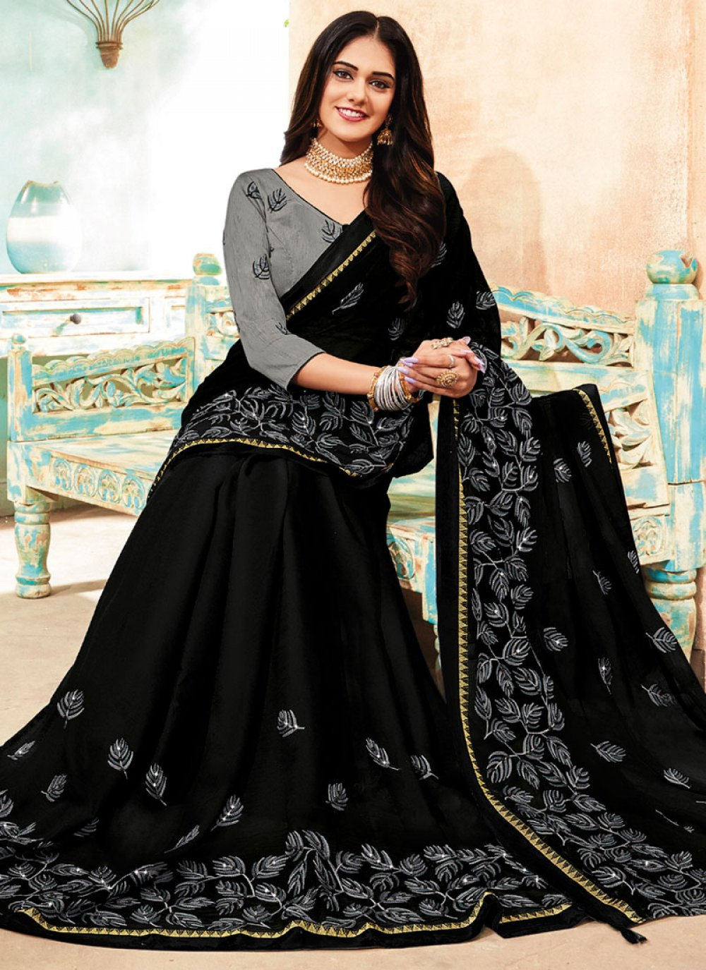 Embroidered Faux Chiffon Black Classic Saree