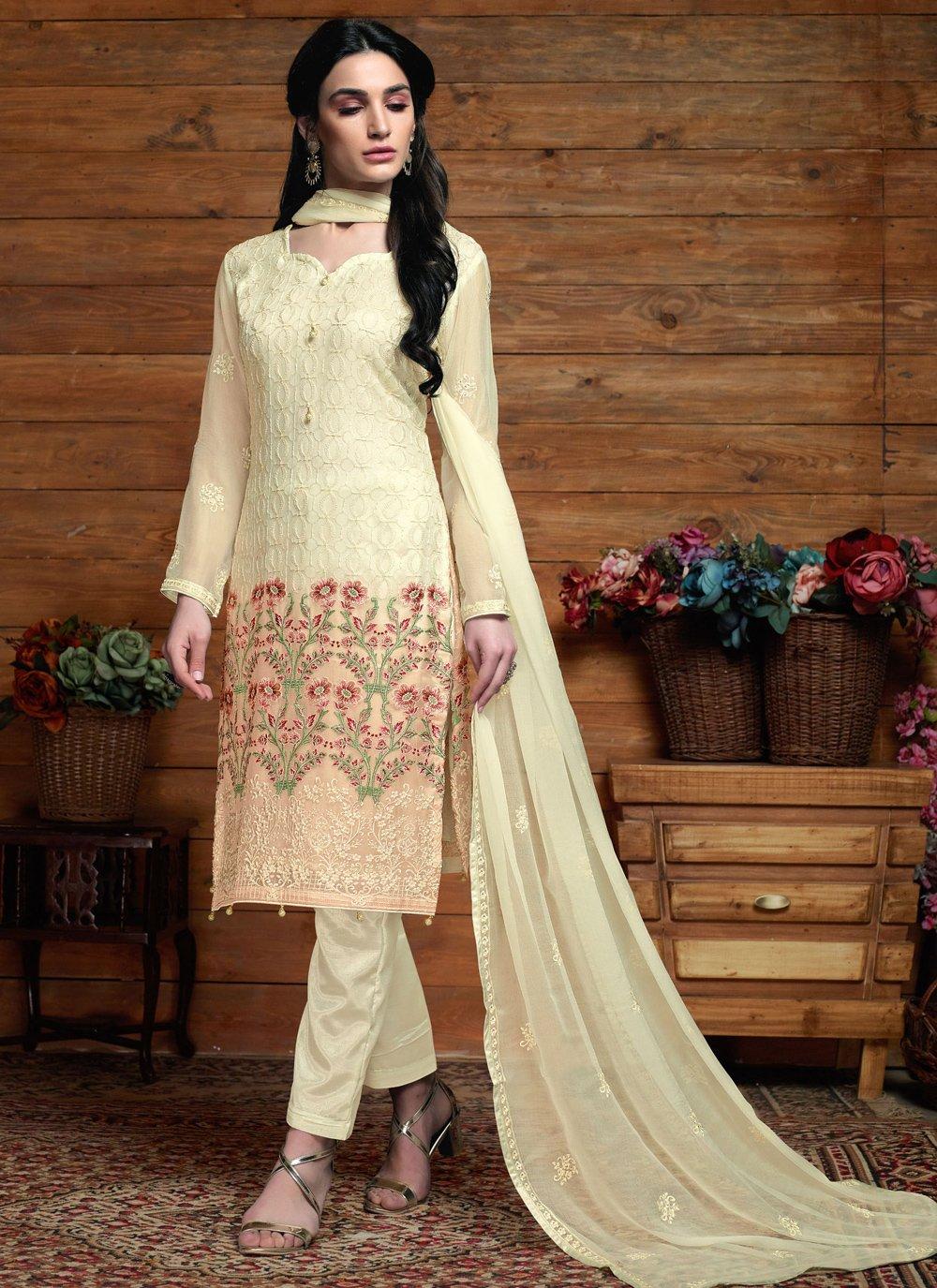 Embroidered Faux Chiffon Cream Designer Salwar Suit