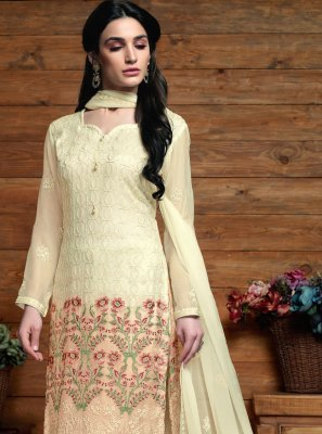 Embroidered Faux Chiffon Cream Designer Salwar Suit
