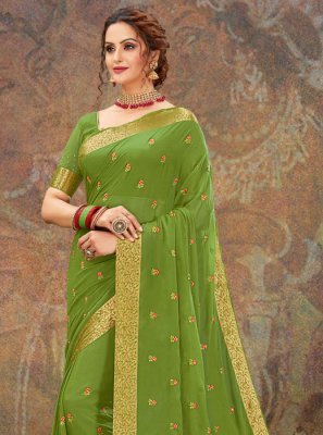 Embroidered Faux Chiffon Green Classic Designer Saree