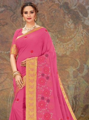 Embroidered Faux Chiffon Pink Classic Designer Saree