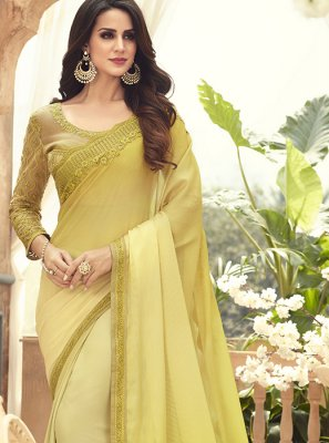 Embroidered Faux Chiffon Saree
